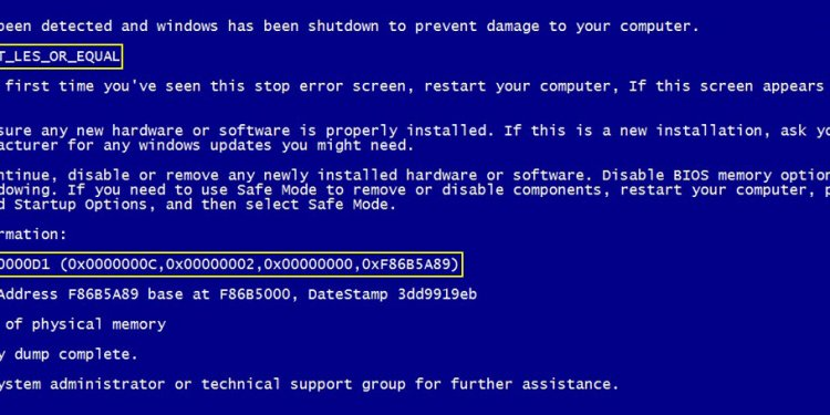 Troubleshooting blue screen