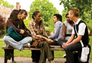 Students in search of a college talking together